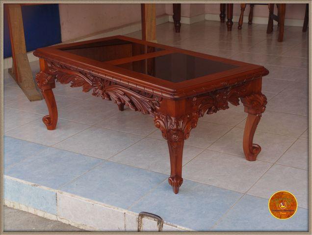 Mesa de centro en madera de cedro tallada a mano - Precios de mesas de centro ...
